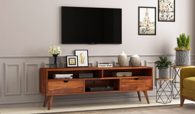 Lynton Large Tv Unit (Honey Finish)-1