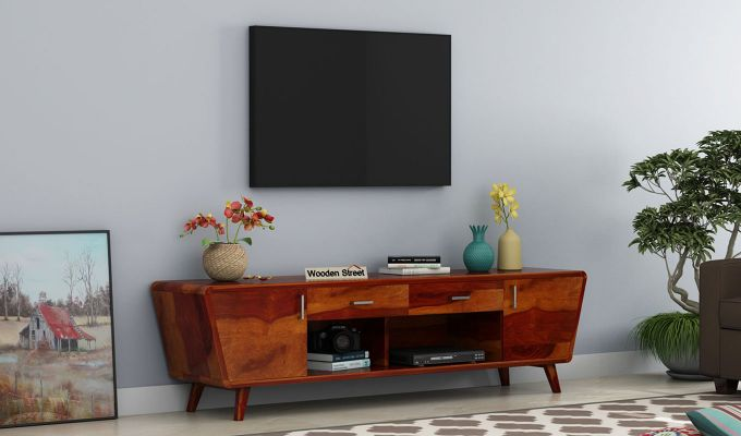 Melvina Tv Unit (Honey Finish)-1