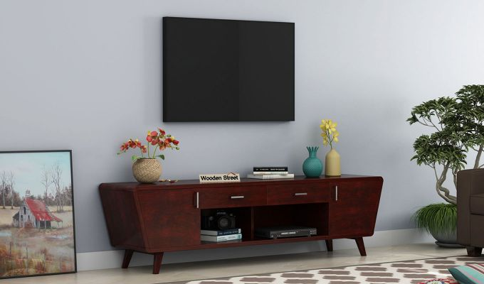Melvina Tv Unit (Mahogany Finish)-1