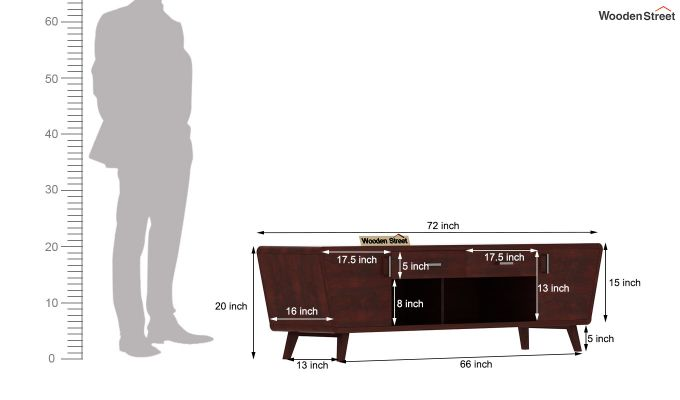 Melvina Tv Unit (Mahogany Finish)-7