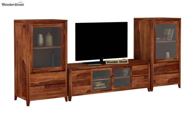 Patrik Tv Unit With Side Towers (Teak Finish)-2