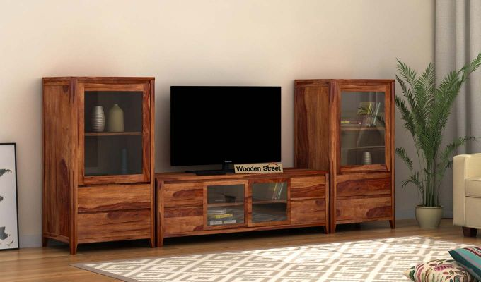 Patrik Tv Unit With Side Towers (Teak Finish)-1