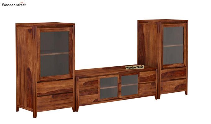 Patrik Tv Unit With Side Towers (Teak Finish)-4