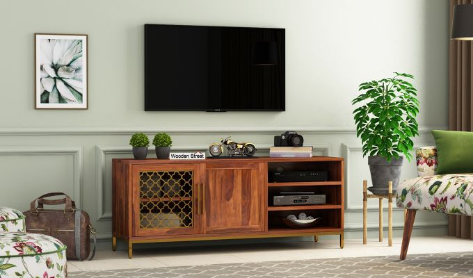 Rivia Tv Unit (Honey Finish)-1