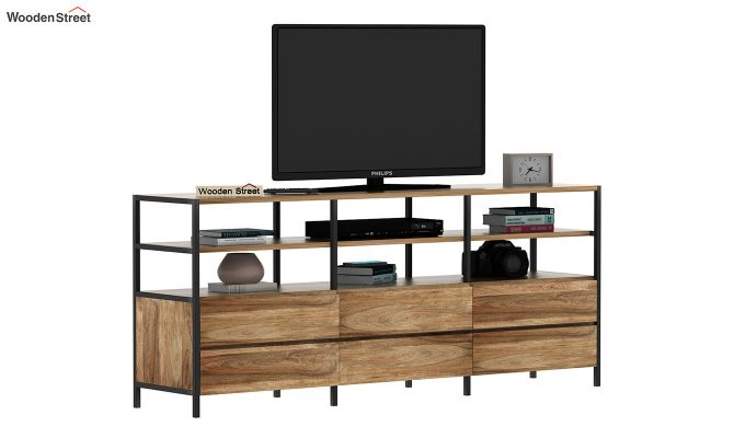 Sienna Loft Tv Unit With Drawers (Natural Finish)-2