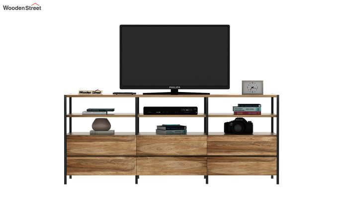 Sienna Loft Tv Unit With Drawers (Natural Finish)-3