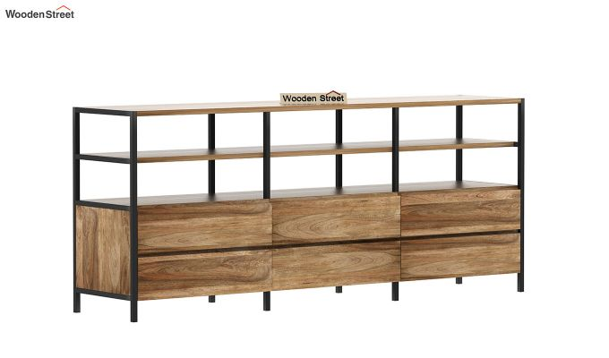 Sienna Loft Tv Unit With Drawers (Natural Finish)-4