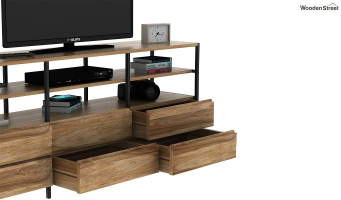 Sienna Loft Tv Unit With Drawers (Natural Finish)-6