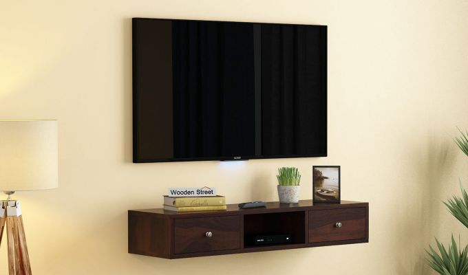Slab Wall Mount TV Unit (Walnut Finish)-1