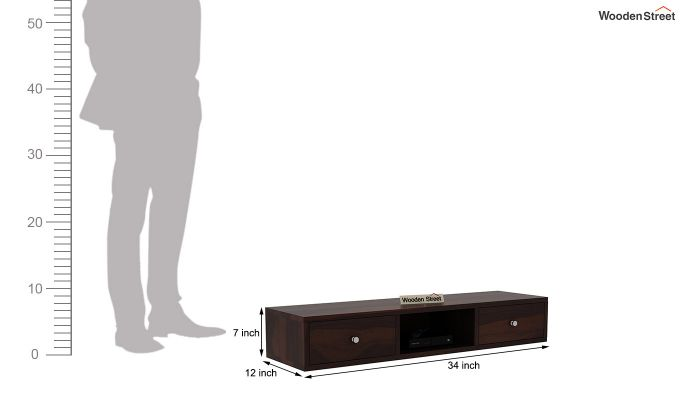 Slab Wall Mount TV Unit (Walnut Finish)-6