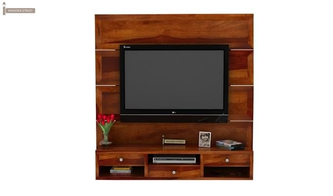 Snapple Wall Mount Tv Unit (Honey Finish)-2
