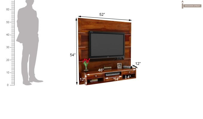 Snapple Wall Mount Tv Unit (Honey Finish)-3