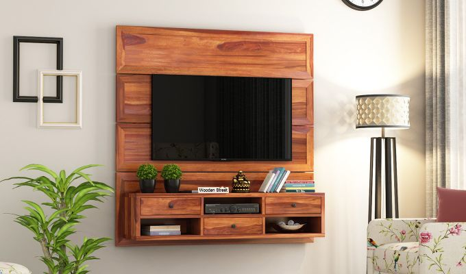 Snapple Wall Mount Tv Unit (Honey Finish)-1