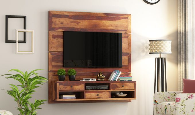 Snapple Wall Mount Tv Unit (Teak Finish)-1