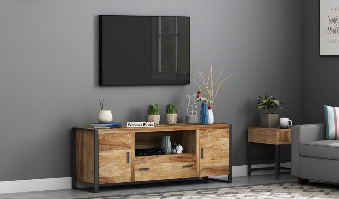Stalley Loft Tv Unit With Drawers (Natural Finish)-1