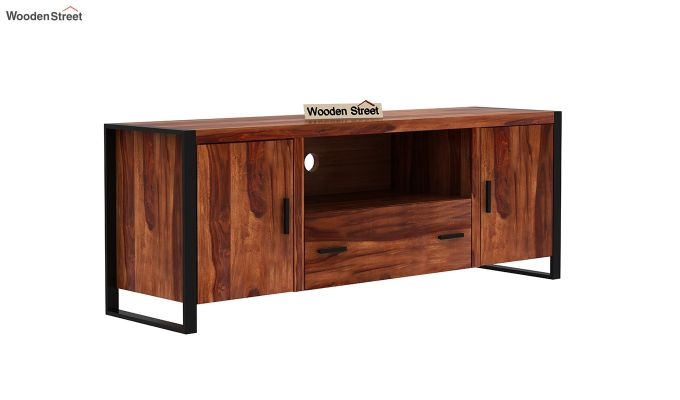 Stalley Loft Tv Unit With Drawers (Honey Finish)-2