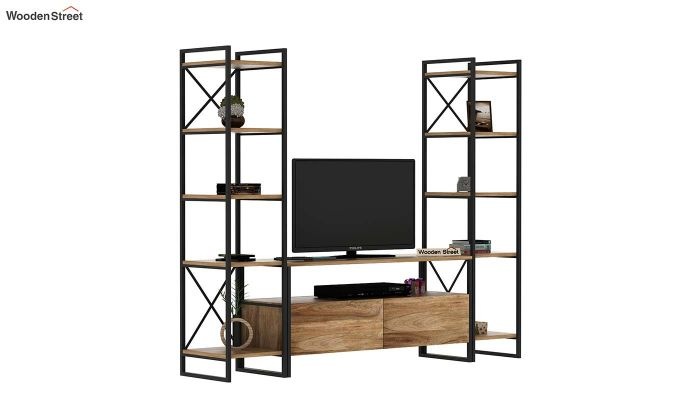 Stark Loft Tv Unit With Side Towers (Natural Finish)-10