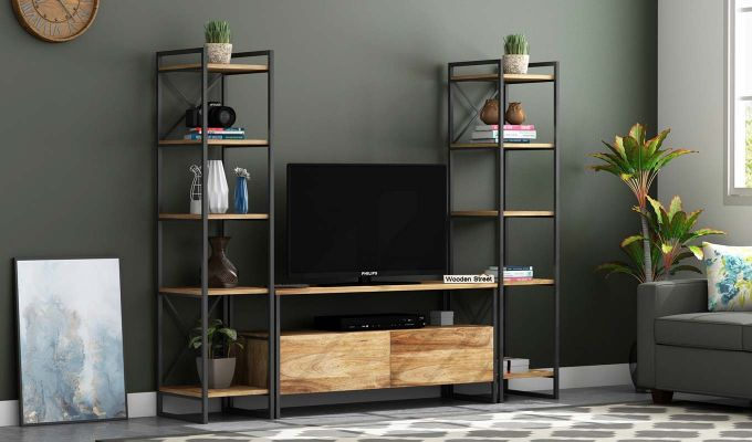 Buy Stark Loft Tv Unit With Side Towers Natural Finish Online In