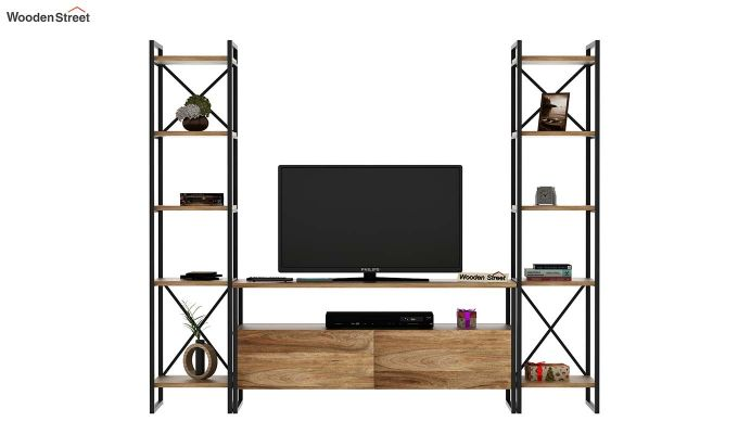Stark Loft Tv Unit With Side Towers (Natural Finish)-2