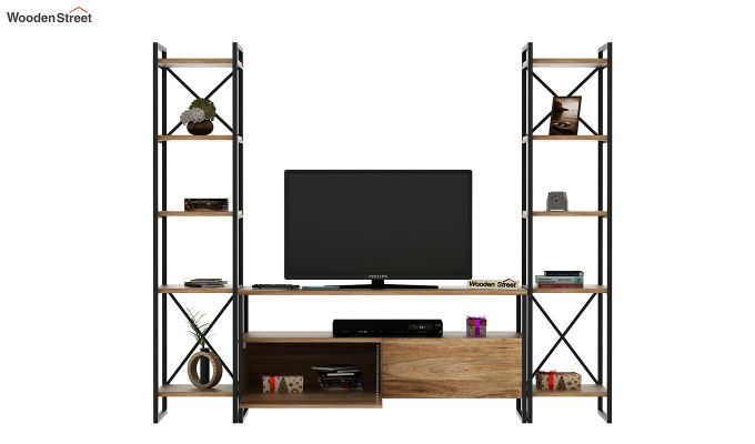 Stark Loft Tv Unit With Side Towers (Natural Finish)-3