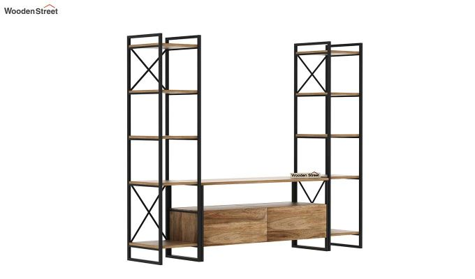 Stark Loft Tv Unit With Side Towers (Natural Finish)-4