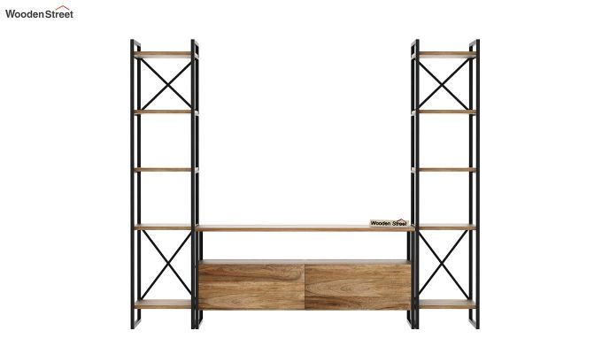 Stark Loft Tv Unit With Side Towers (Natural Finish)-5