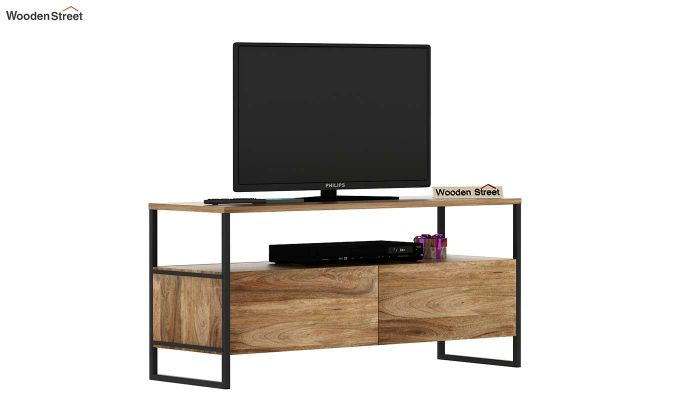 Stark Loft Tv Unit With Side Towers (Natural Finish)-6