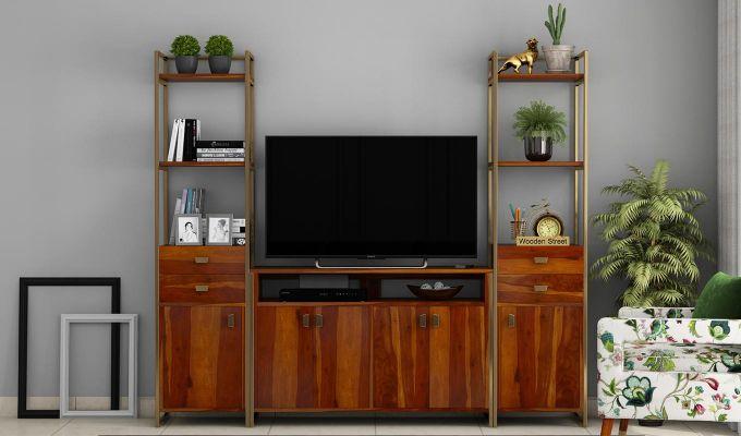 Twin TV Unit (Honey Finish)-2
