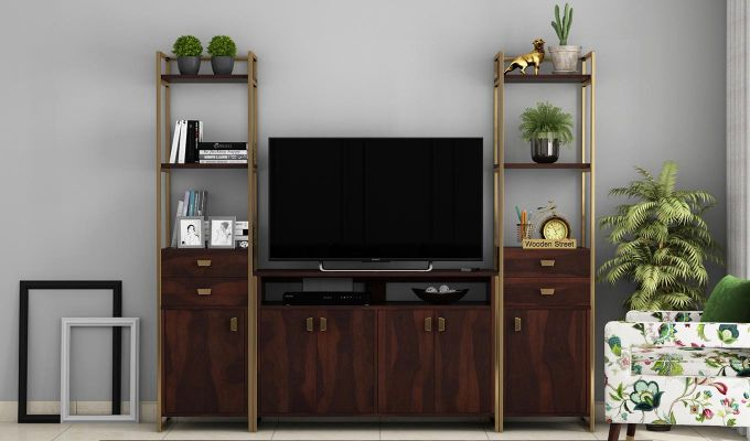 Twin TV Unit (Walnut Finish)-2
