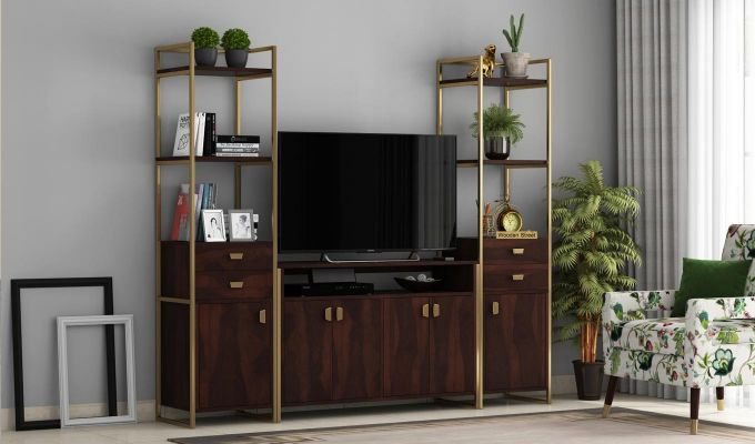 Twin TV Unit (Walnut Finish)-1