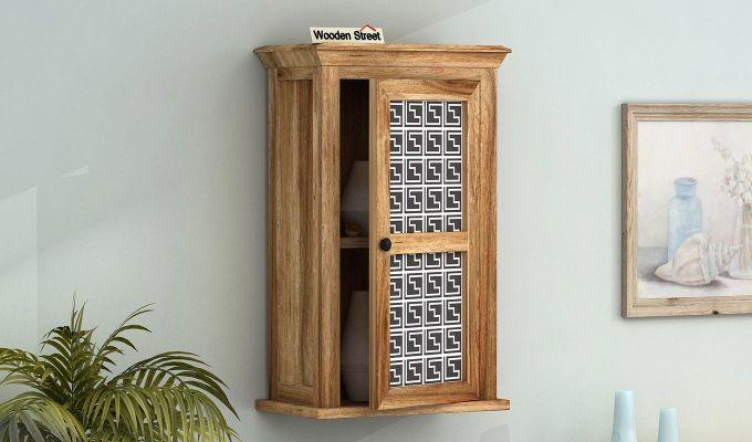 Calgary Maze Print Wall Shelf (Natural Finish)-1