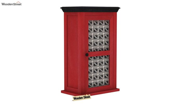 Calgary Red Painted Maze Print Kitchen Rack-2