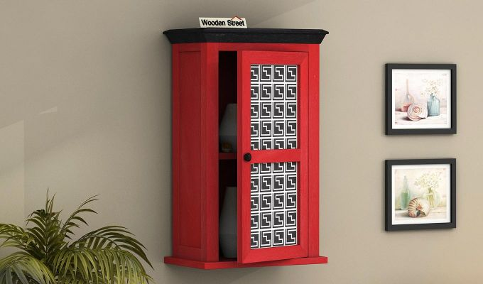 Calgary Red Painted Maze Print Wall Shelf-1