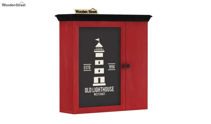 Ducal Red Painted Lighthouse Print Wall Shelf (Red Finish)-2
