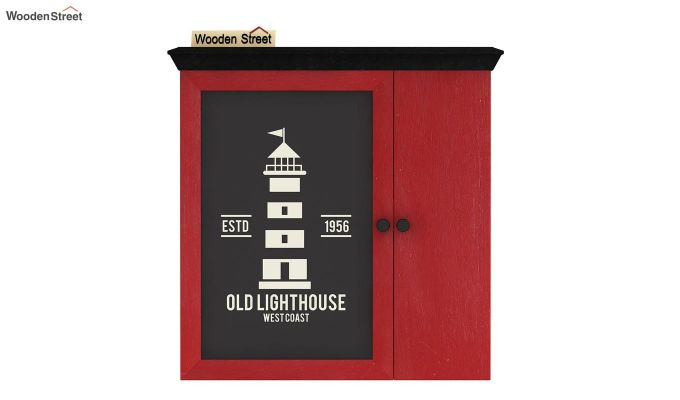Ducal Red Painted Lighthouse Print Wall Shelf (Red Finish)-3