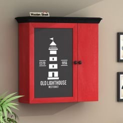 Ducal Red Painted Lighthouse Print Wall Shelf