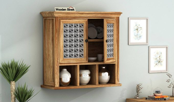 Harp Maze Print Wall Shelf (Natural Finish)-1