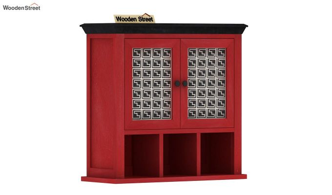 Harp Red Painted Maze Print Kitchen Rack-2
