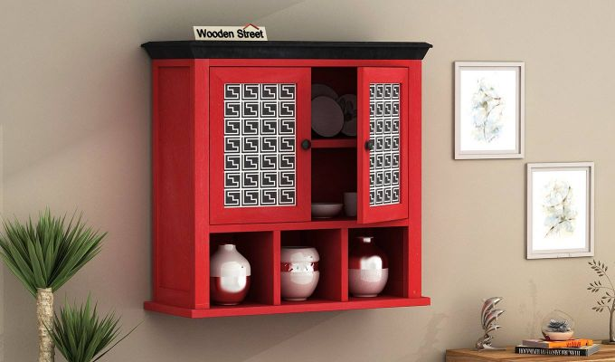 Harp Red Painted Maze Print Kitchen Rack-1