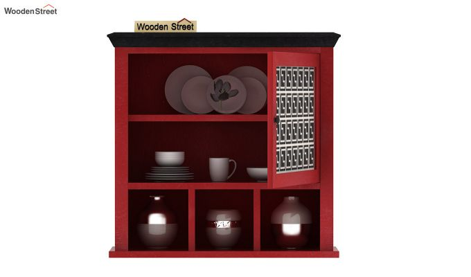 Harp Red Painted Single Door Wall Shelf (Red Finish)-4