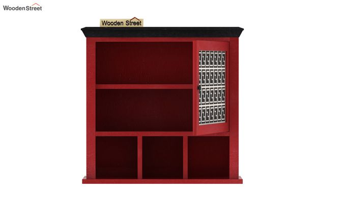 Harp Red Painted Single Door Wall Shelf (Red Finish)-5