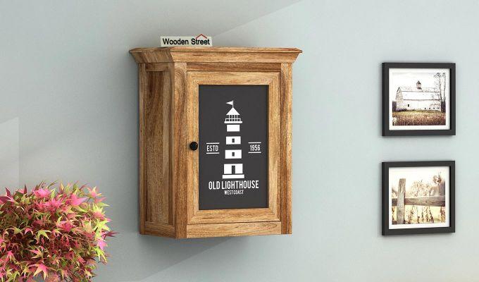 Kell Lighthouse Print Wall Shelf (Natural Finish)-1
