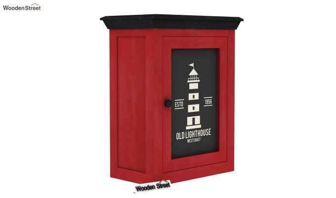 Kell Red Painted Lighthouse Print Kitchen Rack (Red Finish)-2