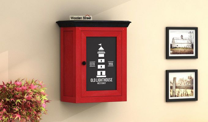 Kell Red Painted Lighthouse Print Kitchen Rack (Red Finish)-1