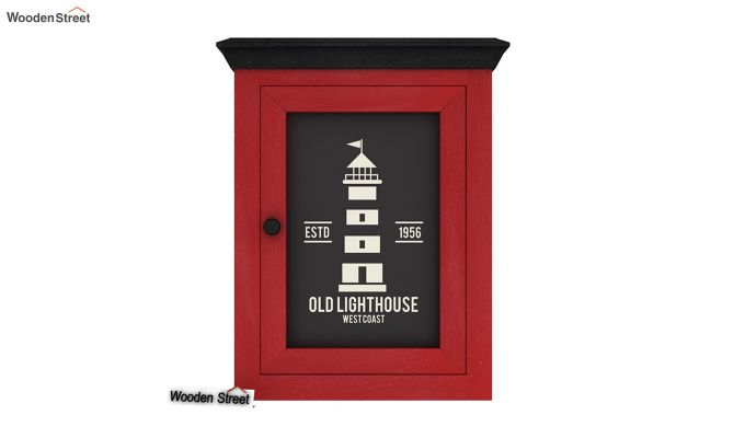 Kell Red Painted Lighthouse Print Kitchen Rack (Red Finish)-3