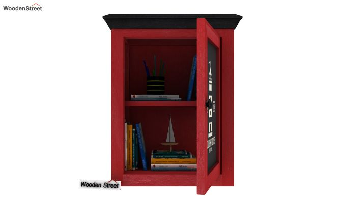 Kell Red Painted Lighthouse Print Kitchen Rack (Red Finish)-4