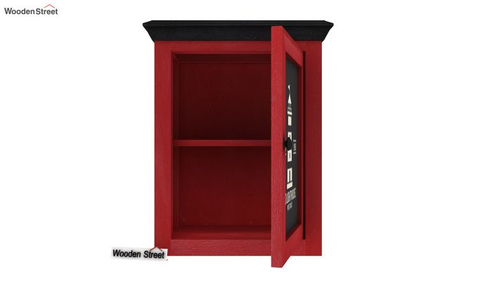 Kell Red Painted Lighthouse Print Kitchen Rack (Red Finish)-5