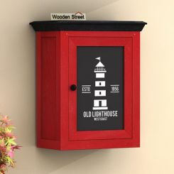 Kell Red Painted Lighthouse Print Wall Shelf