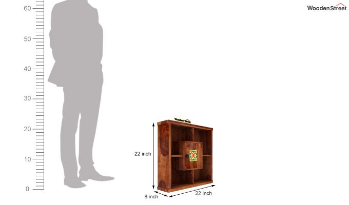 Quatro Wall Shelf (Teak Finish)-6