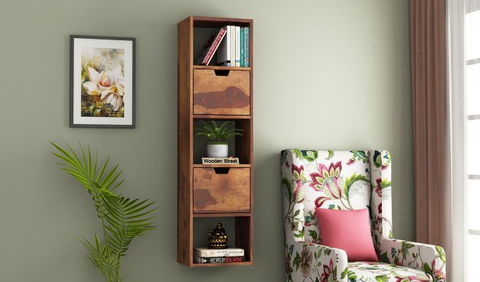 Adder Wall Shelf (Teak Finish)-1